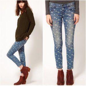 Free People Ditzy Rose Ankle Crop Skinny Jeans 31